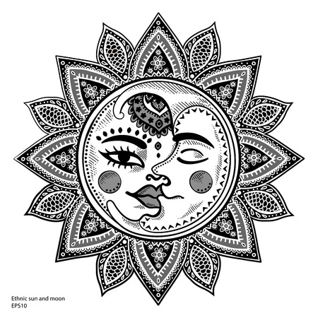 Illustration for Sun, moon and stars vintage vector illustration - Royalty Free Image