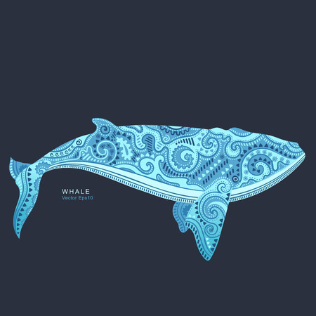 Illustration for Vector wild Whale with tribal and ethnic ornaments - Royalty Free Image