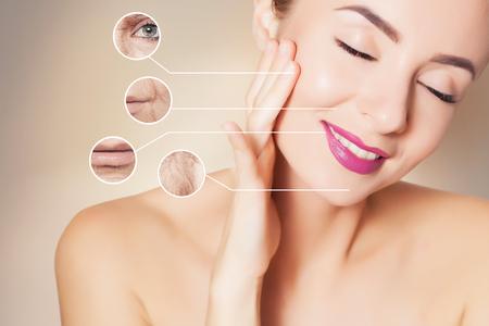 Foto de woman face with graphic circles with photo of old skin - Imagen libre de derechos