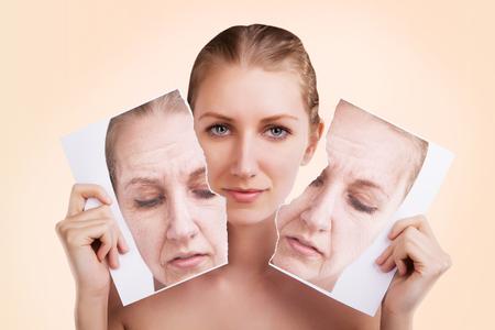 Photo pour before and after portrait of caucasian woman face - image libre de droit