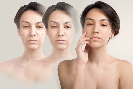 Photo pour skin lifting and old skin problems concept portrait of young asian model - image libre de droit