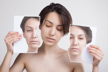 Photo for skin lifting and old skin problems concept portrait of young asian model - Royalty Free Image
