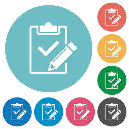 Photo pour Flat fill out checklist icon set on round color background. - image libre de droit