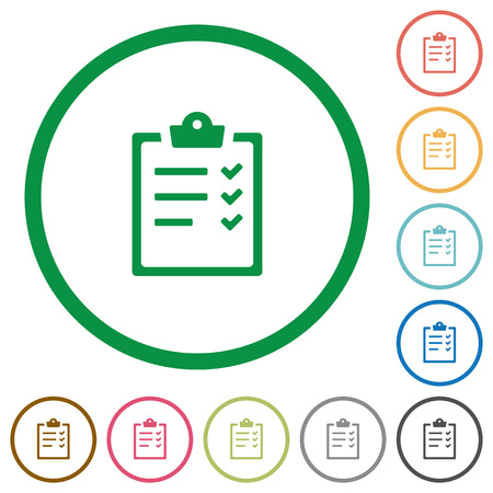 Illustration pour Set of task list color round outlined flat icons on white background - image libre de droit