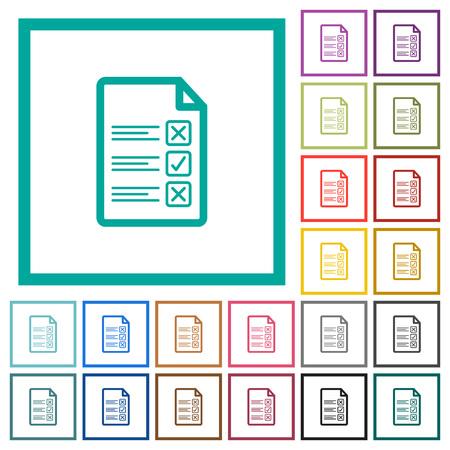 Illustration pour Questionnaire document flat color icons with quadrant frames on white background - image libre de droit