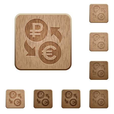 Ilustración de Ruble Euro money exchange on rounded square carved wooden button styles - Imagen libre de derechos