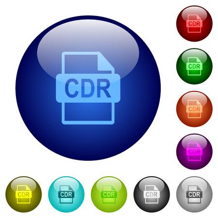 Illustration pour CDR file format icons on round color glass buttons - image libre de droit