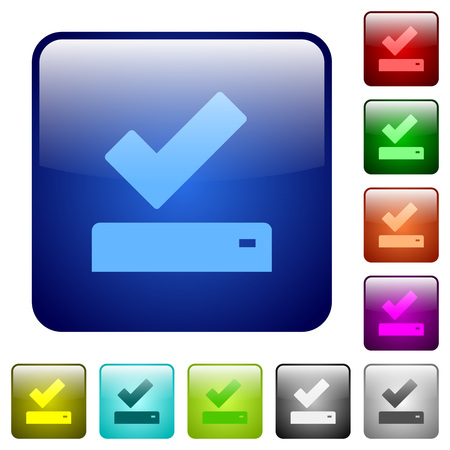 Illustration pour Successfully saved icons in rounded square color glossy button set - image libre de droit