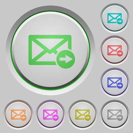 Illustration pour Mail forwarding color icons on sunk push buttons - image libre de droit