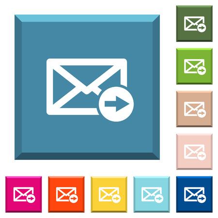 Illustration pour Mail forwarding white icons on edged square buttons in various trendy colors - image libre de droit