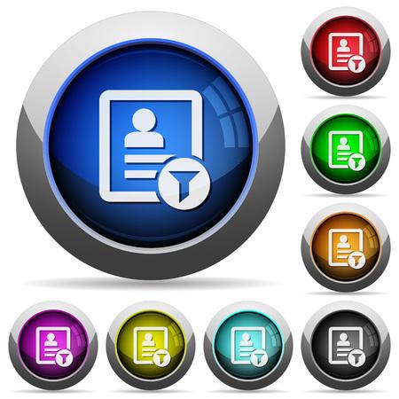Ilustración de Contact filter icons in round glossy buttons with steel frames - Imagen libre de derechos