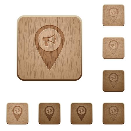 Ilustración de Voice navigation on rounded square carved wooden button styles - Imagen libre de derechos