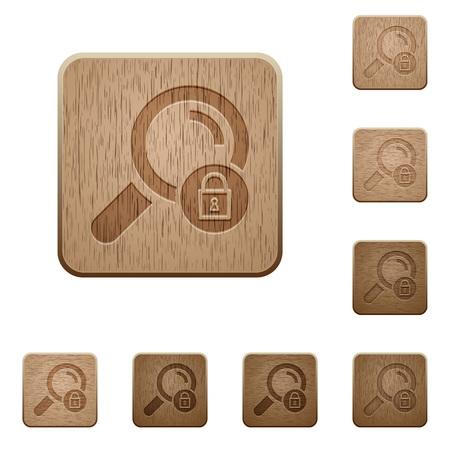 Ilustración de Search locked on rounded square carved wooden button styles - Imagen libre de derechos