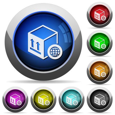 Ilustración de Worldwide package transportation icons in round glossy buttons with steel frames - Imagen libre de derechos