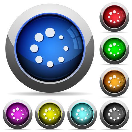 Ilustración de Preloader symbol icons in round glossy buttons with steel frames - Imagen libre de derechos