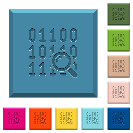 Illustration pour Code analysis engraved icons on edged square buttons in various trendy colors - image libre de droit