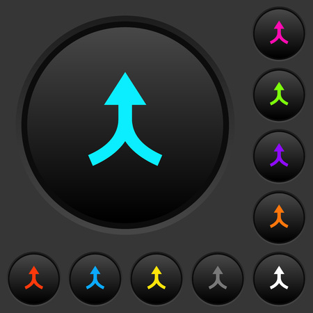 Ilustración de Merge arrows up dark push buttons with vivid color icons on dark grey background - Imagen libre de derechos