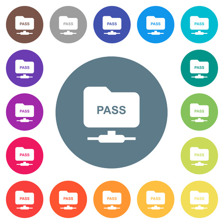 Ilustración de ftp authentication password flat white icons on round color backgrounds. 17 background color variations are included. - Imagen libre de derechos