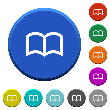 Illustration for Open book round color beveled buttons with smooth surfaces and flat white icons - Royalty Free Image