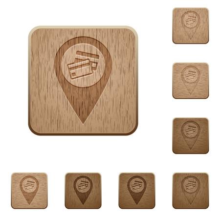 Ilustración de Credit card acceptance GPS map location on rounded square carved wooden button styles - Imagen libre de derechos