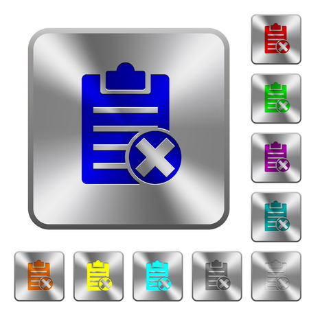 Illustration for Note cancel engraved icons on rounded square glossy steel buttons - Royalty Free Image