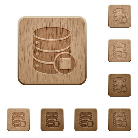 Ilustración de Database macro stop on rounded square carved wooden button styles - Imagen libre de derechos