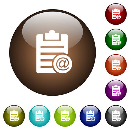 Illustration for Send note as email white icons on round color glass buttons - Royalty Free Image