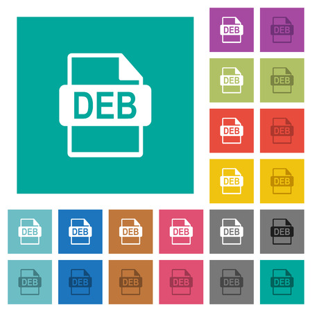 Illustration pour DEB file format multi colored flat icons on plain square backgrounds. Included white and darker icon variations for hover or active effects. - image libre de droit