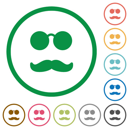 Illustrazione per Glasses and mustache flat color icons in round outlines on white background - Immagini Royalty Free