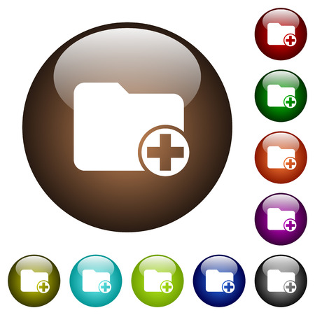 Illustration pour Add new directory white icons on round color glass buttons - image libre de droit