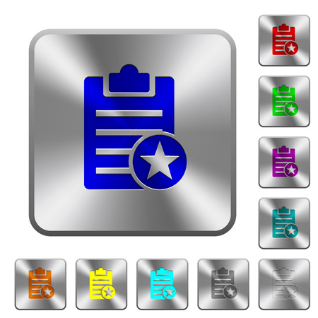 Illustration for Marked note engraved icons on rounded square glossy steel buttons - Royalty Free Image