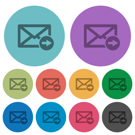 Illustration pour Mail forwarding darker flat icons on color round background - image libre de droit