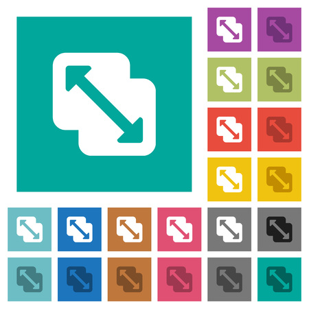 Ilustración de Merge shapes multi colored flat icons on plain square backgrounds. Included white and darker icon variations for hover or active effects. - Imagen libre de derechos