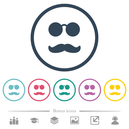 Illustrazione per Glasses and mustache flat color icons in round outlines. 6 bonus icons included. - Immagini Royalty Free