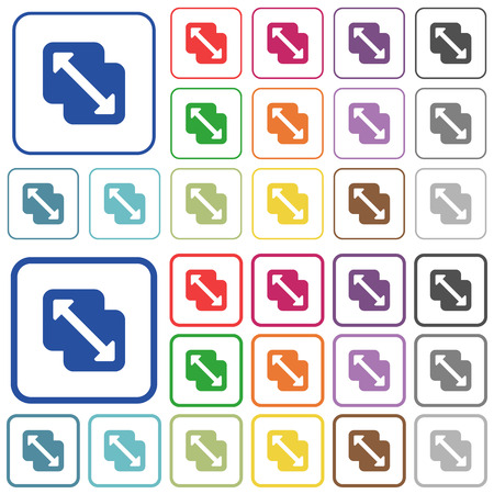 Ilustración de Merge shapes color flat icons in rounded square frames. Thin and thick versions included. - Imagen libre de derechos