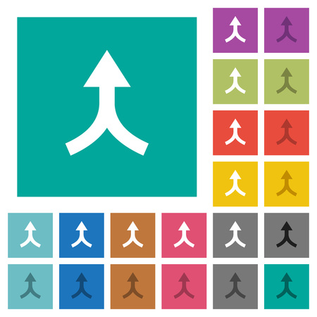 Ilustración de Merge arrows up multi colored flat icons on plain square backgrounds. Included white and darker icon variations for hover or active effects. - Imagen libre de derechos