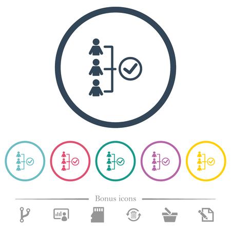 Illustration pour Successful teamwork flat color icons in round outlines. 6 bonus icons included. - image libre de droit