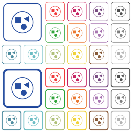 Ilustración de Grouping elements color flat icons in rounded square frames. Thin and thick versions included. - Imagen libre de derechos