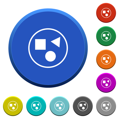Ilustración de Grouping elements round color beveled buttons with smooth surfaces and flat white icons - Imagen libre de derechos
