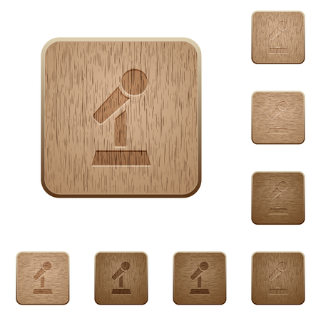 Ilustración de Microphone with stand on rounded square carved wooden button styles - Imagen libre de derechos