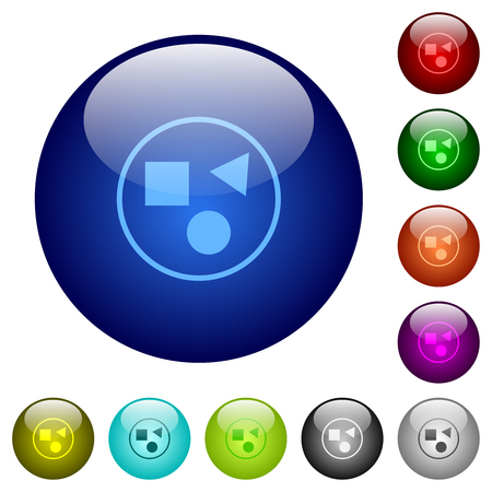 Ilustración de Grouping elements icons on round color glass buttons - Imagen libre de derechos