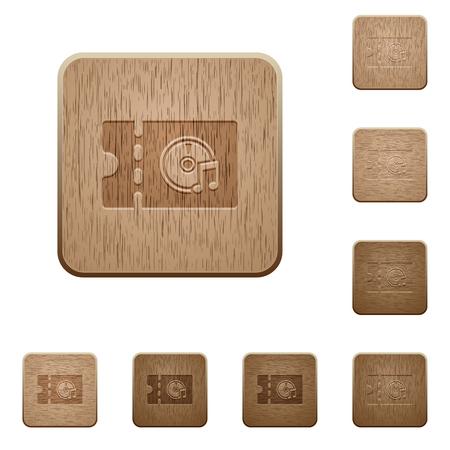 Ilustración de Music store discount coupon on rounded square carved wooden button styles - Imagen libre de derechos