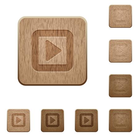 Ilustración de Toggle right on rounded square carved wooden button styles - Imagen libre de derechos