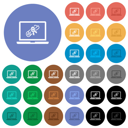 Illustration pour Webinar on laptop multi colored flat icons on round backgrounds. Included white, light and dark icon variations for hover and active status effects, and bonus shades. - image libre de droit