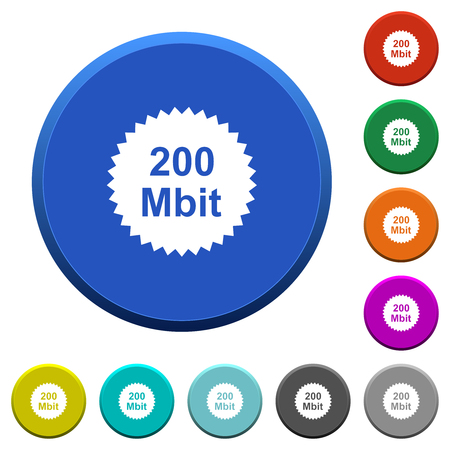 Illustration pour 200 mbit guarantee sticker round color beveled buttons with smooth surfaces and flat white icons - image libre de droit