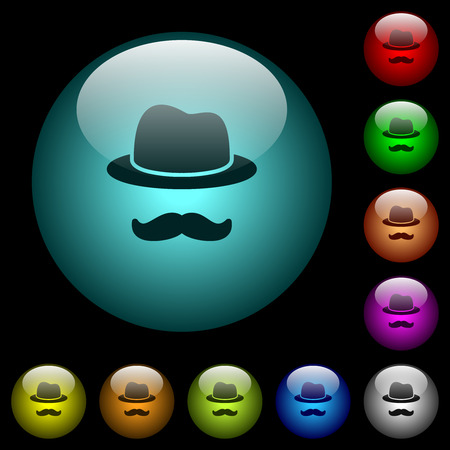 Illustrazione per Incognito with mustache icons in color illuminated spherical glass buttons on black background. Can be used to black or dark templates - Immagini Royalty Free