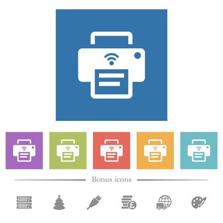 Foto de Wireless printer flat white icons in square backgrounds. 6 bonus icons included. - Imagen libre de derechos