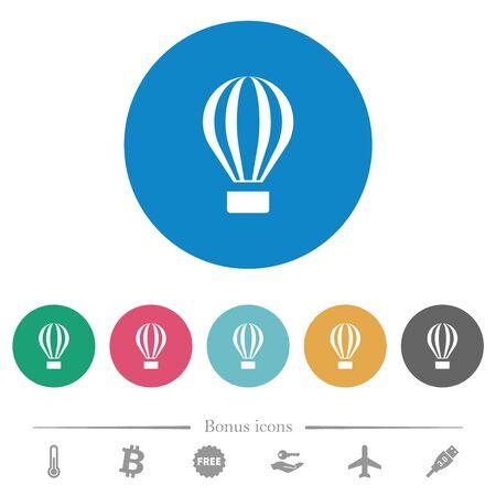 Illustration pour Air balloon flat white icons on round color backgrounds. 6 bonus icons included. - image libre de droit