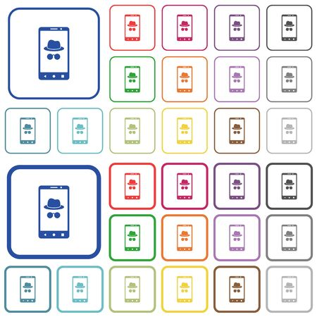 Illustrazione per Mobile incognito color flat icons in rounded square frames. Thin and thick versions included. - Immagini Royalty Free