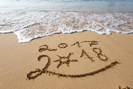 Photo for Happy New Year 2018, lettering on the beach - Royalty Free Image